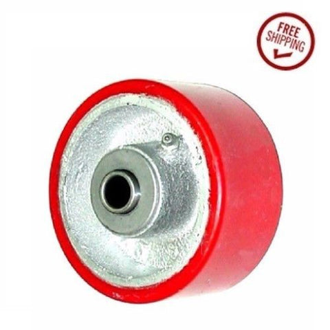 "Superior, (One) DuraStar 4"" x 2"" Polyurethane Wheel with 1/2"" ID Red Roller Bearing"