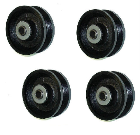 "DuraStar, (Set of 4) 4"" x 1-1/2"" Cast Iron V-Groove Wheel with 5/8"" ID Needle Bearing"
