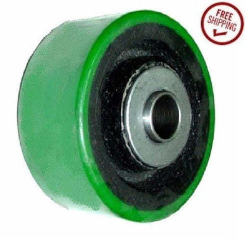 "Superior, Durable 3-1/4"" x 2"" Polyurethane Wheel with 3/4"" ID Bearing 500# Cap. Green"