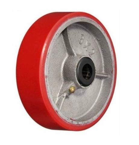 "Superior Brand, Replacement 8"" x 2"" Polyurethane Wheel with 1/2"" ID Red 1200# Cap."