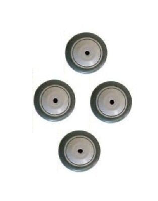 "Superior, Set of Four Superior 3"" x 1-1/4"" Soft Rubber Wheel w 3/8"" ID w Thread Guards"
