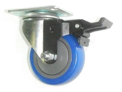 "Superior Brand, One Swivel Plate Caster with 3-1/2"" Blue Polyurethane Wheel and Posi-Lock Brake"