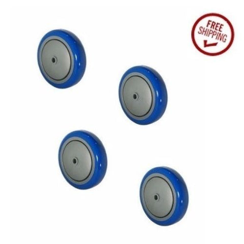 "Colson, Durable 5"" x 1-1/4"" Polyurethane Wheel w/ 3/8"" ID Blue225 Cap Ball Bearing (4)"