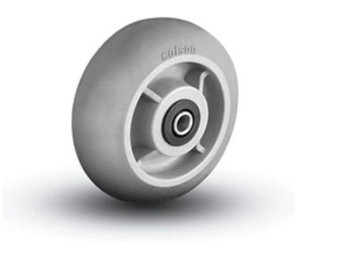 "Colson, Colson Round Tread 6"" x 2"" Soft Gray Wheel with 3/4"" Axle ID Roller Bearing"