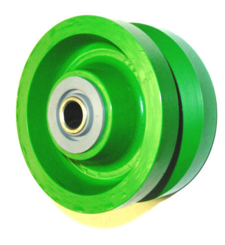 "VSP Solid Polyurethane, Solid Green Wet Area Polyurethane 5"" x 2"" V-Groove Wheel with 1/2"" ID Bearing"