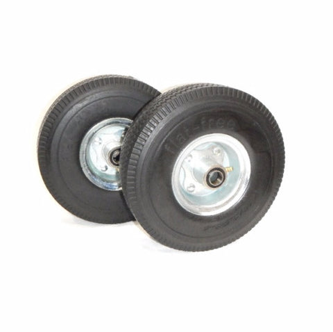 "Durable Superior, (2) Hand Truck Tire 3/4"" ID 10"" Flat Free Wheel for Cart ""Never Goes Flat"""