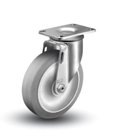 "Superior Brand, Swivel Caster 3""x1-1/4"" Soft Rubber Wheel 2-1/2""x3-5/8"" Plate Gray200# Cap"