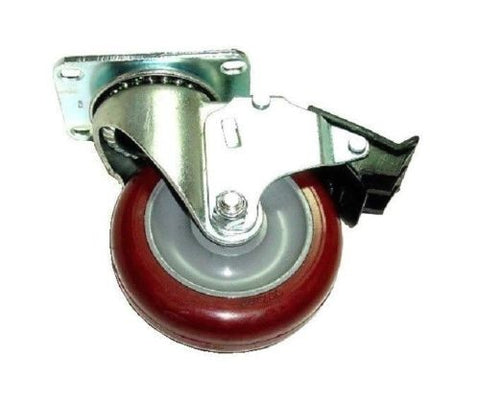 "Colson, Swivel Plate Caster with Polyurethane 4"" x 1-1/4"" Wheel with Total Lock Brake"