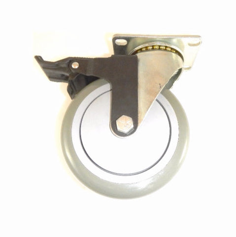 "Superior Brand, One Swivel Plate Caster w/ 5"" x 1-1/4"" Gray Poly Wheel and Tech-Lock Brake"
