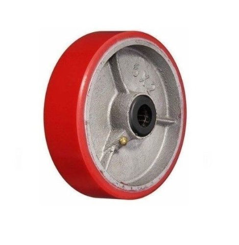 "Superior, Import 5"" x 2"" Polyurethane Wheel with 1/2"" ID Red Roller Bearing"