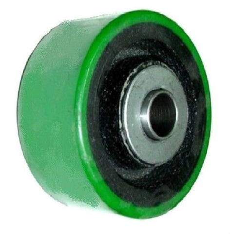 "Superior, Import 4"" x 2"" Polyurethane Wheel with 5/8"" ID (Green)(450# Cap.)"