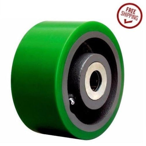 "Superior Brand, Heavy Duty 6"" x 3"" Polyurethane Wheel and 3/4"" ID Green Hardwood Floor Safe"