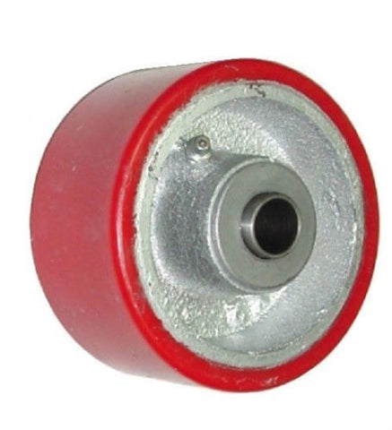 "Superior, Durable 4"" x 2"" Polyurethane Wheel with 5/8"" ID Red 450# Cap. / 450# Cap."