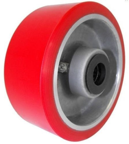 "Superior Brand, Heavy Duty 8"" x 3"" Polyurethane Wheel with 3/4"" ID Steel Core Red"