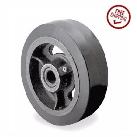"Superior, (One) DuraStar 8"" x 2"" Black Rubber Wheel with 3/4"" ID (600# Cap.)"
