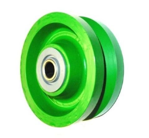 "VSP Solid Polyurethane, Solid Green Wet Area Polyurethane 4"" x 2"" V-Groove Wheel with 1/2"" ID Bearing"