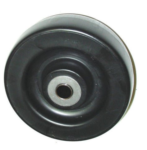 "(One) 4 Series Caster Wheel 5/8"" ID 6"" x 2"" Polyolefin ( Black )(600# Cap.)"
