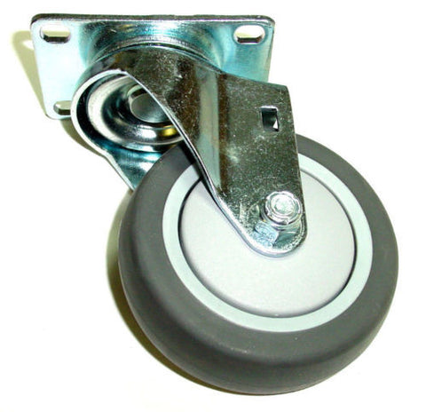 "Superior Brand,  Swivel Caster 4"" Soft Rubber Wheel 2-1/2""x3-5/8"" Plate Gray176#"