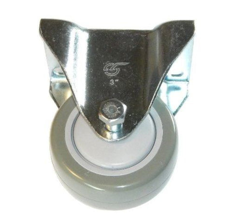 "Superior Brand, Rigid Plate Caster with Gray Polyurethane Non-Marking Wheel 3"" Diameter"