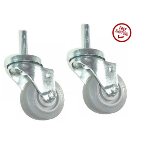 "Superior Brand,  (Two) Stem Casters with 3"" Soft Wheel and 1/2"" Threaded Stem / 600# Cp"