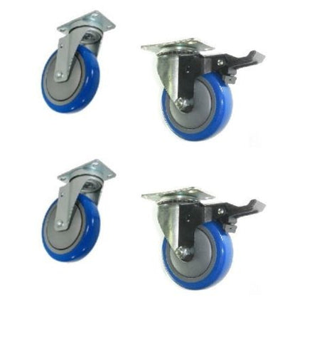 "Swivel Caster 3-1/2""x1-1/4"" Polyurethane Wheel 2-1/2""x3-5/8"" Plate w/ Brake (4)"
