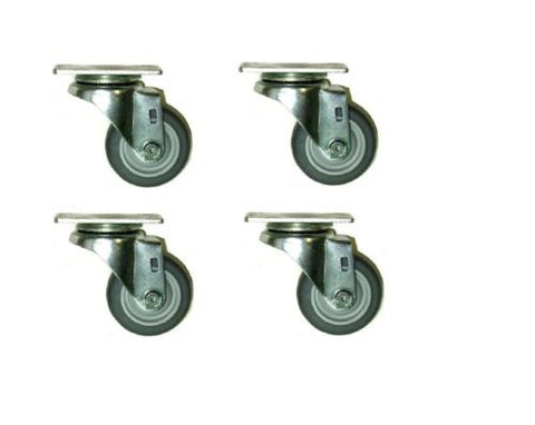 "Superior Brand, Pack of 4 Swivel Casters Soft Rubber 3"" x 1-1/4"" Wheels 2-3056-442 (Non-Marking)"