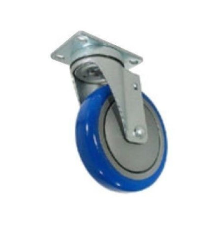 "Superior Brand, Swivel Caster 4"" x 1-1/4"" Polyurethane Wheel 2-1/2"" x 3-5/8"" Plate Blue One"