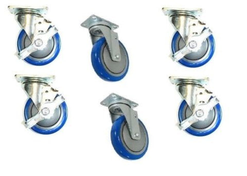 "Superior Brand, (Pack of 6) Crazy Wheel Swivel Casters w/ Blue 4"" Non-Marking Wheels 4 w/ Brakes"