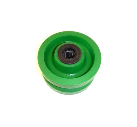 "Albion, V-Groove 4"" x 2"" Solid Polyurethane Wheel with 3/4"" ID Needle Roller Bearing"