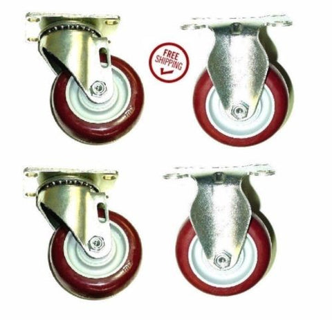 "Superior Brand, Package of 4 Plate Casters with 3-1/2"" Poly Wheels - 2 Swivels and 2 Rigid"