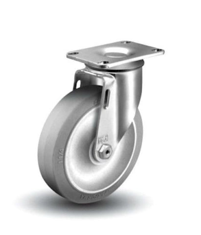 "Colson, Swivel Plate Caster 4"" x 1-1/4"" Soft Rubber Wheel 2-1/2"" x 3-5/8"" Plate TPE One"