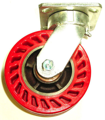 "Omega Wheel, Swivel Caster with Red Omega Polyurethane Wheel 6"" x 2"" 1000# Capacity UOR620-S"