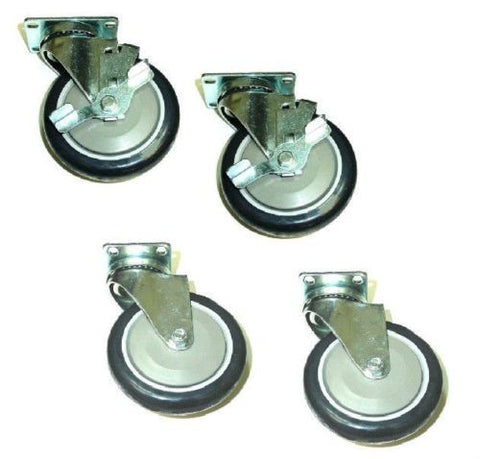 "Superior Brand, Set of Four Swivel Casters with 5"" Black Non-Marking Wheels 2 with Brakes"