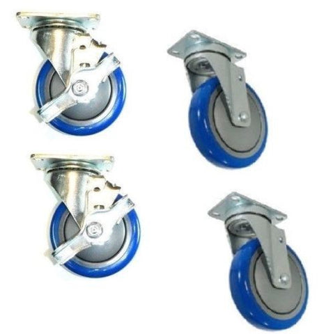 "Superior Brand, Set of 4 Swivel Plate Casters with Blue 4"" Polyurethane Wheels and 2 With Brakes"