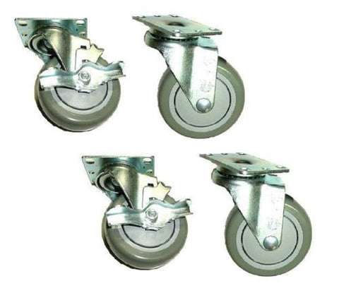 "Superior Brand, Swivel Caster 4"" x 1-1/4"" Polyurethane Wheel 2-1/2"" x 3-5/8"" Plate w/ Brake (4)"