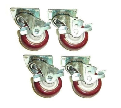 "Superior Brand, Set of 4 Swivel Plate Casters with 3-1/2"" Poly Wheels and Side Lock Brakes"