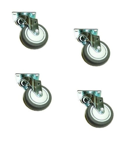 "Superior Brand,  Set of 4 Swivel Plate Casters with Soft Rubber 4"" x 1-1/4"" Wheel"