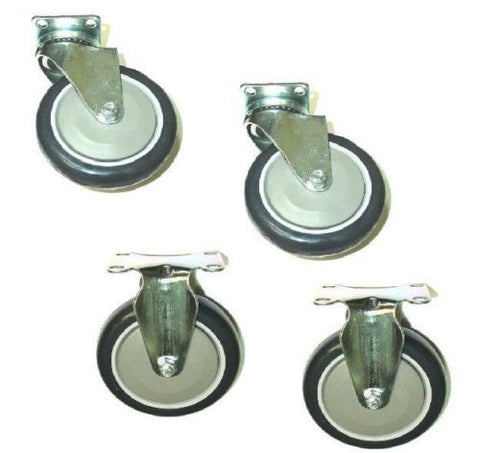 "Superior Brand, Pack of 4 New Plate Casters w/ 5"" Blue Polyurethane Wheels 2 Swivel and 2 Rigid"