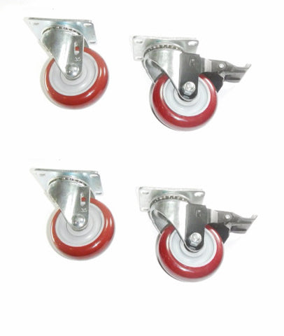 "Superior Brand, Set of 4 Plate Casters with Floor-Safe 3"" Maroon Poly Wheel / 840# Cap."