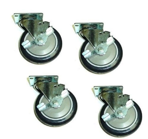 "Superior Brand, Set of 2 Swivel Plate Casters 5"" Black Non-Marking Wheel with Side Lock Brake"