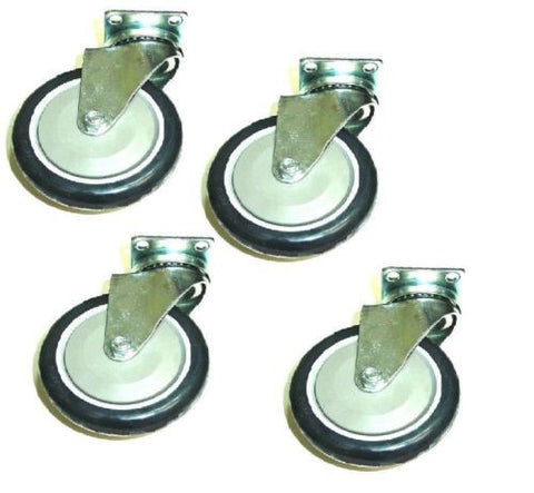 "Superior Brand, Set of 4 Swivel Plate Casters 5"" Dark Blue Polyurethane Wheels 6-1/8"" Tall Stem"