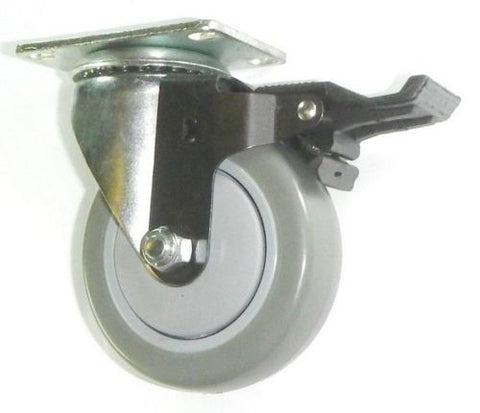 "Superior Brand, Swivel Plate Caster w/ 4"" Gray Polyurethane Wheel and PosiLock Brake"