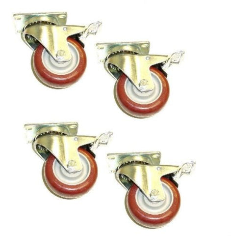"Superior Brand, Set of 4 Swivel Casters with 3-1/2"" Polyurethane Wheels with Total Lock Brakes"