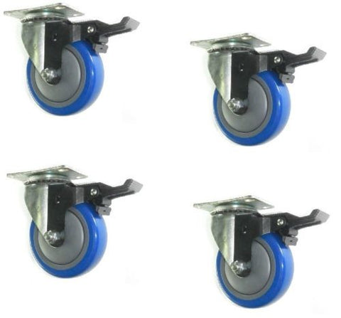 "Superior Brand, Set of 4 Swivel Plate Casters with 4"" Blue Poly Wheel and Brakes"