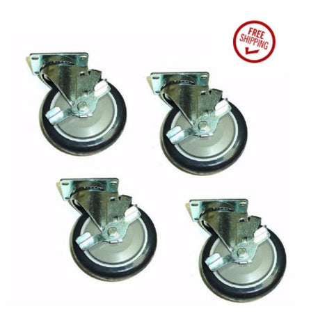 "Superior Brand, Set of 4 Swivel Casters w/ Dark Blue 5"" Polyurethane Wheels Side Lock Brakes"