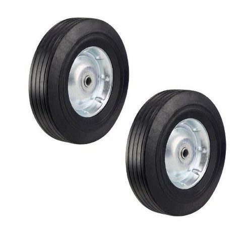 "Superior, Set of Two Heavy Duty 10"" Offset Hub Rubber Hand Truck Wheels with 1/2"" ID"