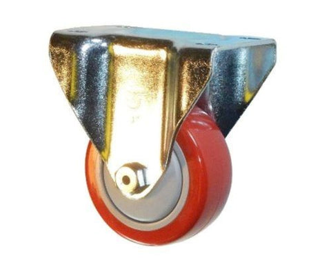 "Superior Brand, Rigid Plate Caster with Red Polyurethane Non-Marking Wheel 3"" Wheel"