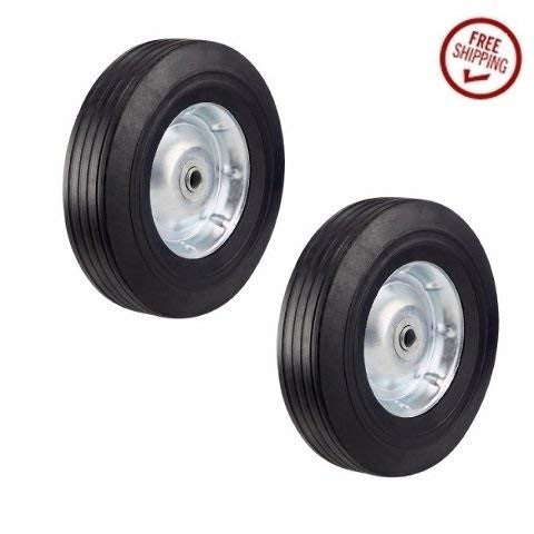 "Superior, Two Heavy Duty 10"" Solid Rubber Offset Cart Wheels with 3/4"" ID"
