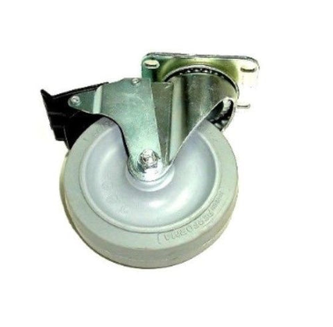 "Colson, Colson Swivel Caster with 5"" x 1-1/4"" Gray TPE Soft Wheel and Brake 22-5256-445"