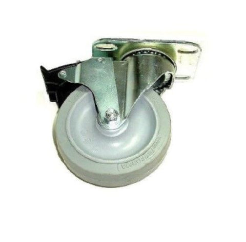 "Colson, Swivel Caster 3-1/2""x1-1/4"" Rubber Wheel 2-1/2""x3-5/8"" Plate Total Lock Brake"